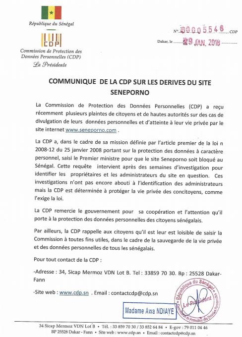 Communiqué de presse publié sur www.cdp.sn